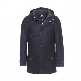 Manteau Best Mountain en laine noire à capuche