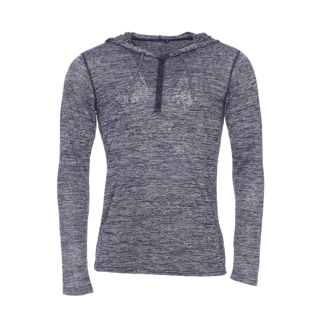tee shirt best mountain tissage flamm gris et noir capuche rue des hommes. Black Bedroom Furniture Sets. Home Design Ideas