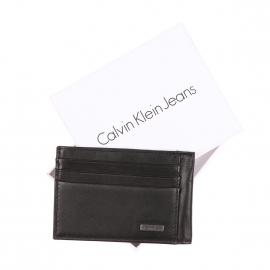 Porte-carte Calvin Klein Jeans en cuir lisse noir