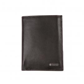 Portefeuille européen Calvin Klein Jeans en cuir lisse noir