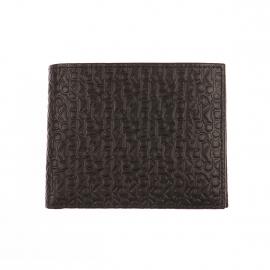 Grand portefeuille italien Calvin Klein Jeans en cuir noir gravé des initiales