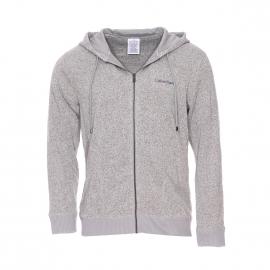 Sweat zippé à capuche Calvin Klein gris chiné