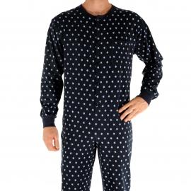Grenouillère forme jogging Gastar Christian Cane bleu marine à motifs étoiles bleu clair