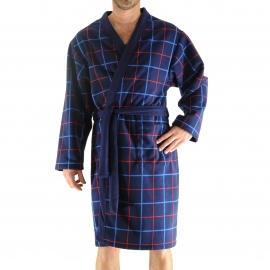 Robe de chambre Grant Christian Cane en polaire bleu marine à carreaux rouges et bleus
