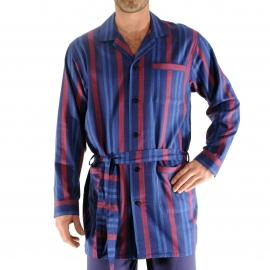 Pyjaveste Gary Christian Cane en coton doux bleu marine à rayures rouges et bleues