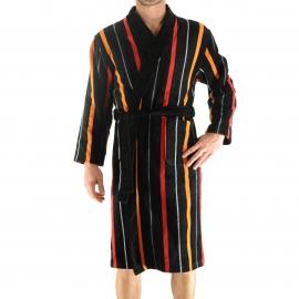 Kimono long Gordes Christian Cane noir à rayures