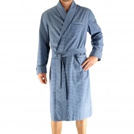 Robe de chambre légère Gabin Christian Cane bleu marine à motifs losanges blancs