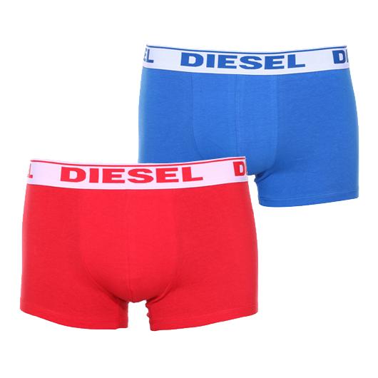 Lot de 2 boxers diesel en coton stretch rouge et bleu