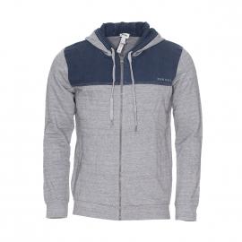 Sweat zippé à capuche Diesel gris chiné à empiècements bleu jean