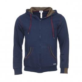 Sweat zippé à capuche Diesel en coton bleu marine à détails prune