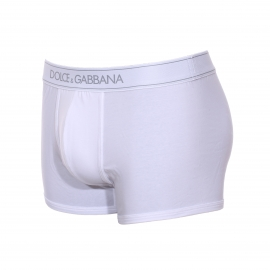 Boxer Dolce & Gabbana en coton stretch blanc à ceinture estampillée