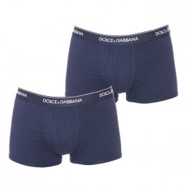 Lot de 2 boxers Dolce & Gabbana en coton bleu marine à ceinture monogrammée
