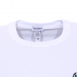 Tee-shirt col rond Dolce & Gabbana en coton stretch blanc