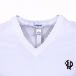 Tee-shirt col V Dolce & Gabbana en coton stretch blanc