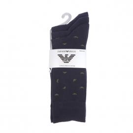 Lot de 3 paires de chaussettes Emporio Armani en coton stretch bleu marine à logo Eagle vert