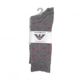 Lot de 3 paires de chaussettes Emporio Armani en coton stretch gris clair à logo Eagle rouge