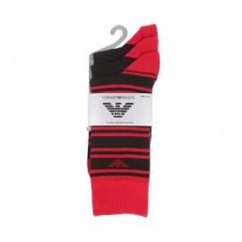 Lot de 3 paires de chaussettes Emporio Armani en coton stretch noir estampillées en rouge