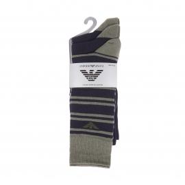 Lot de 3 paires de chaussettes Emporio Armani en coton stretch bleu marine estampillées en kaki