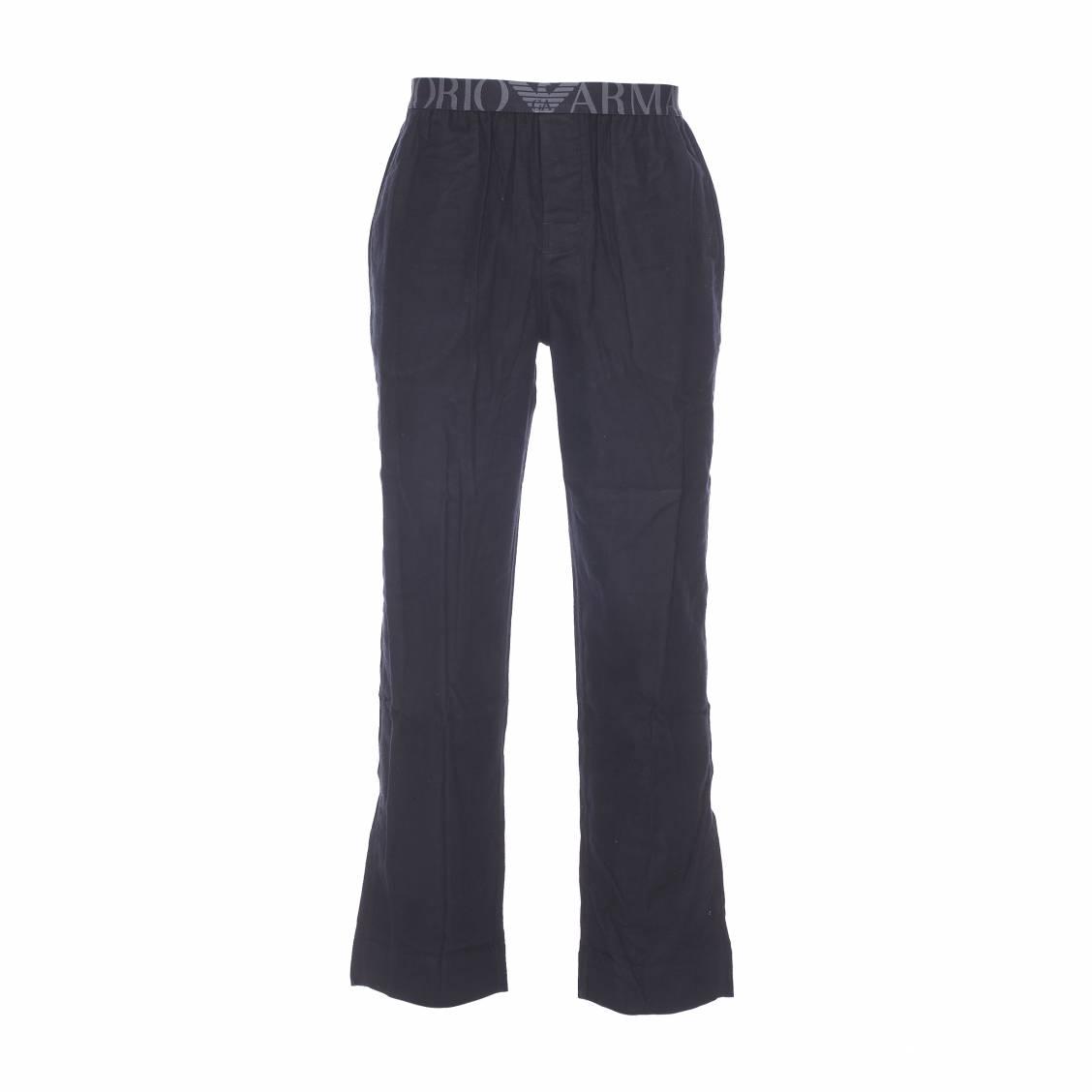 pantalon d 39 int rieur emporio armani en coton noir rue des hommes. Black Bedroom Furniture Sets. Home Design Ideas
