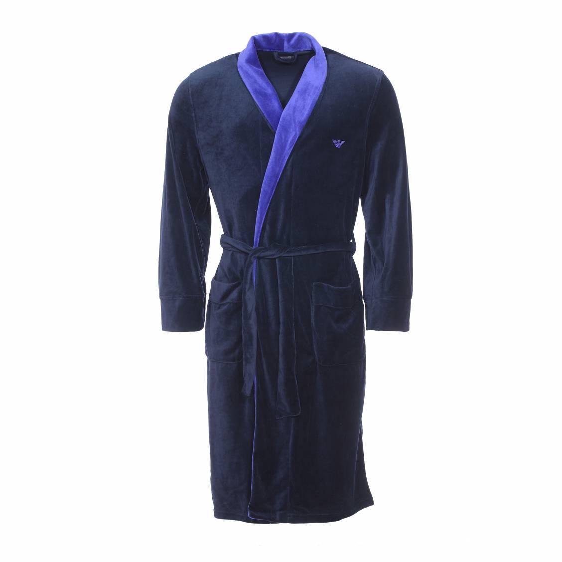 robe de chambre emporio armani en velours bleu marine rue des hommes. Black Bedroom Furniture Sets. Home Design Ideas