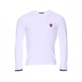 Tee-shirt manches longues Emporio Armani en coton stretch blanc estampillé