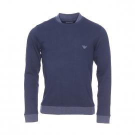 Sweat Emporio Armani en coton bleu marine à double col