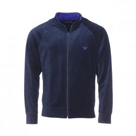 Sweat zippé Emporio Armani en velours bleu marine