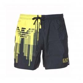 Short de bain EA7 noir à motif jaune