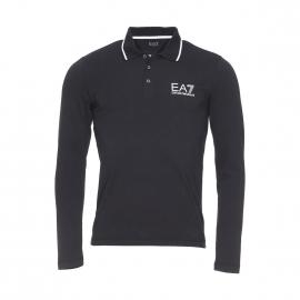 Polo manches longues EA7 en coton stretch noir à logo blanc