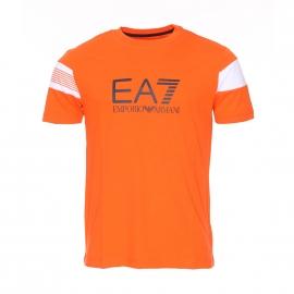 Tee-shirt col rond EA7 en coton orange et blanc à logo bleu marine