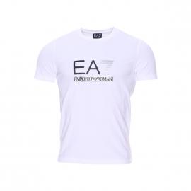 Tee-shirt col rond EA7 en coton stretch blanc floqué en noir et argent