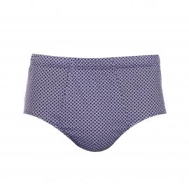 Slip Eminence taille haute ouvert en coton violet à losanges jaunes, rouges et bleu clair