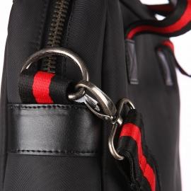Porte ordinateur Eden Park noir en textile et cuir