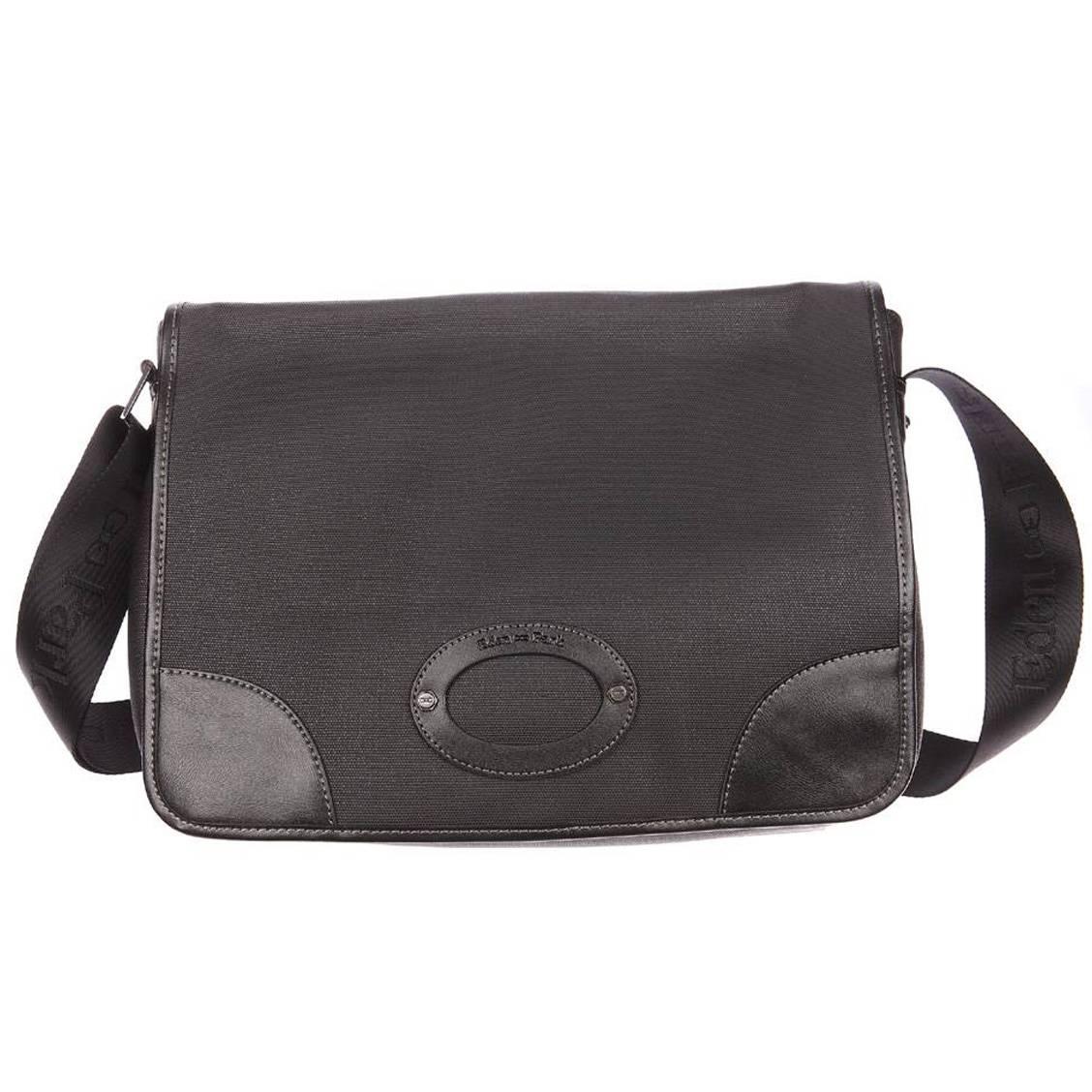 Porte ordinateur  en coton enduit et cuir noir