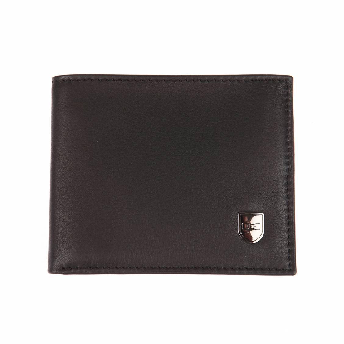 Portefeuille italien 2 volets  en cuir lisse noir