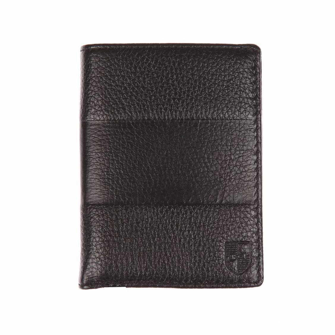 Portefeuille européen  en cuir noir à bande horizontale embossée