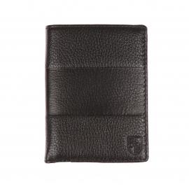 Portefeuille européen Eden Park en cuir noir à bande horizontale embossée