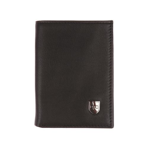 Portefeuille europ�en 2 volets  en cuir lisse noir