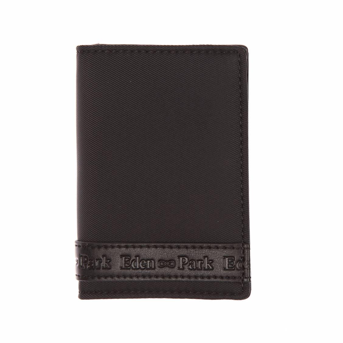 Portefeuille européen 2 volets  noir en tissu et cuir monogrammé