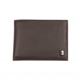 Portefeuille italien 3 volets Eden Park en cuir marron à porte-monnaie zippé