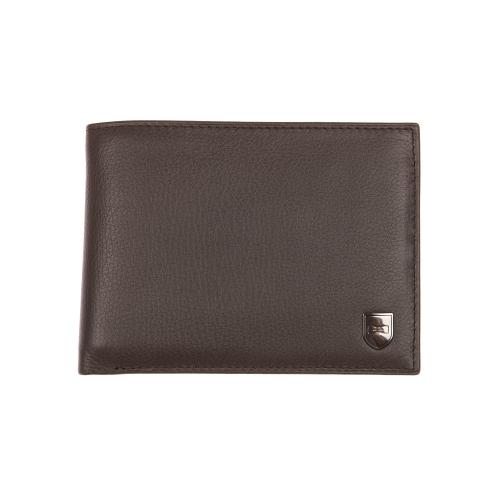 Portefeuille italien 3 volets  en cuir marron � porte-monnaie zipp�