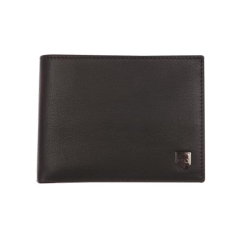 Portefeuille italien 3 volets  en cuir noir � porte-monnaie zipp�