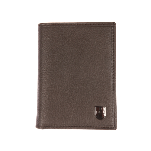 Portefeuille europ�en 2 volets  en cuir lisse marron estampill�