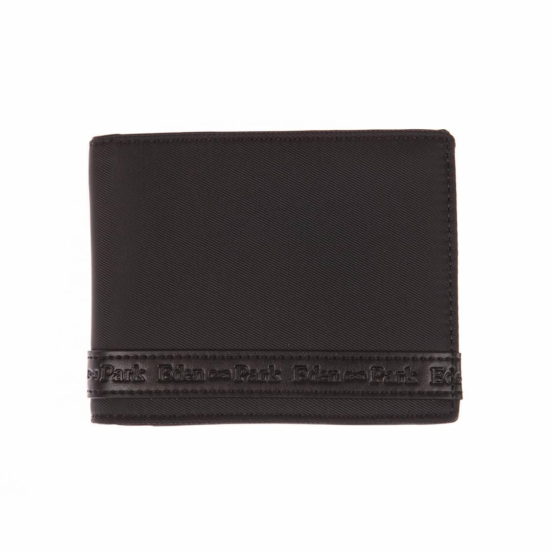 Portefeuille italien  en textile et cuir noir à bande estampillée