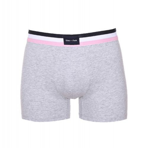 Boxer  en coton stretch gris clair � ceinture ray�e bleu marine blanche et rose