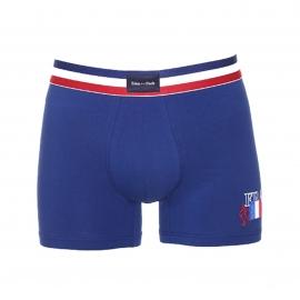 Boxer Eden Park France en coton stretch bleu à ceinture tricolore