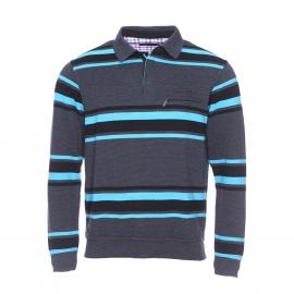 Polo Ethnic Blue gris anthracite à rayures noires et bleu turquoise