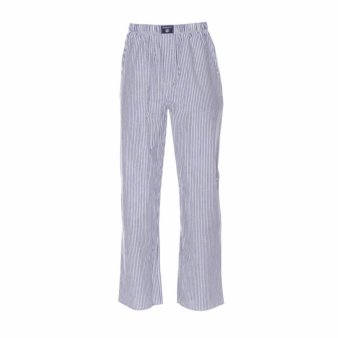 pantalon d 39 int rieur gant en coton rayures bleues et blanches rue des hommes. Black Bedroom Furniture Sets. Home Design Ideas