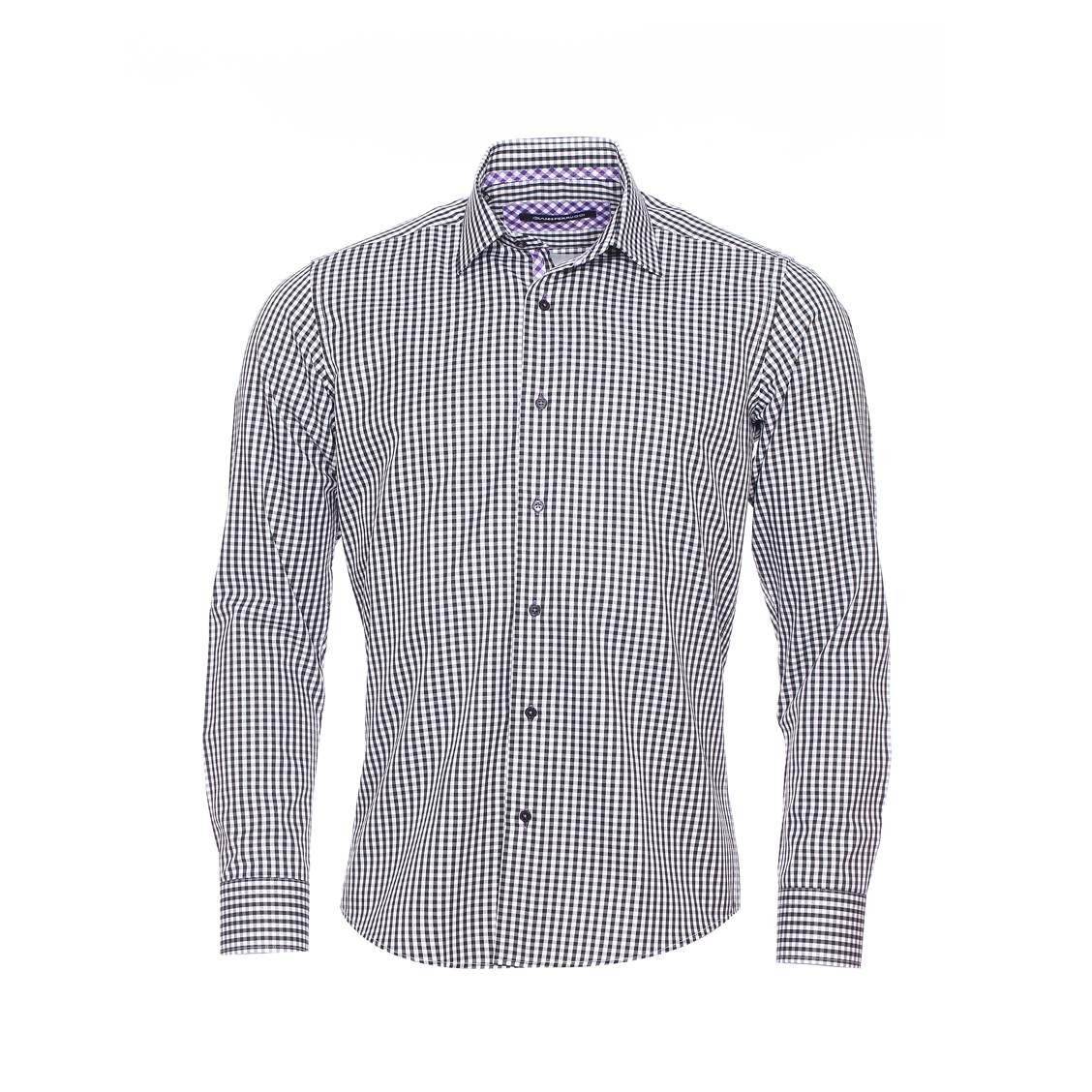 Chemise cintrée  à carreaux noirs et blancs, opposition à carreaux violets et blancs
