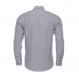 Chemise cintrée Gianni Ferrucci à carreaux noirs et blancs, opposition à carreaux violets et blancs